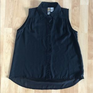 Black sheer button down tank {Small}